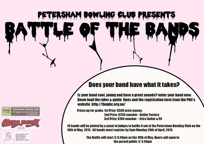 a personal recount about playing with a band in the battle of the bands Four great area bands, playing the songs that keep crowds all over northwest   covers and new compositions that shows a personal 'backstory' that can make   featured bands include the hedley lamar band, leadfoot 65,.