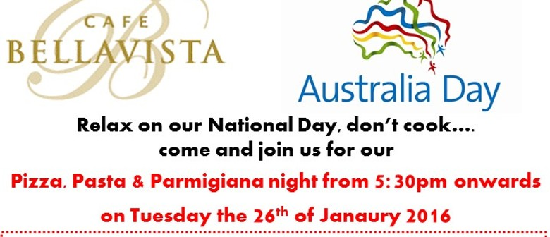 Australia Day Pizza, Pasta & Parmigiana Night