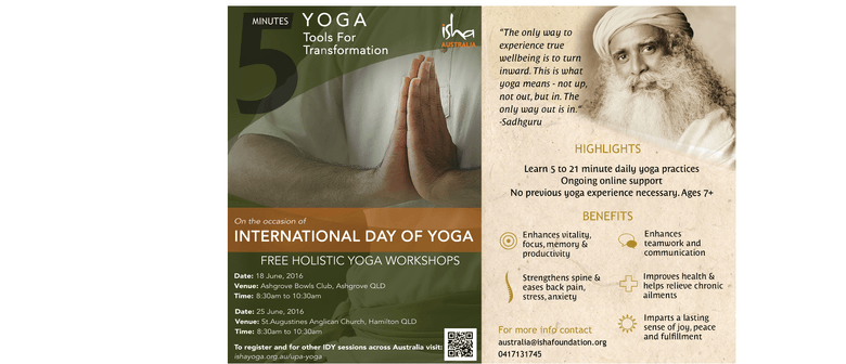 Free Yoga workshop-Isha Upa Yoga