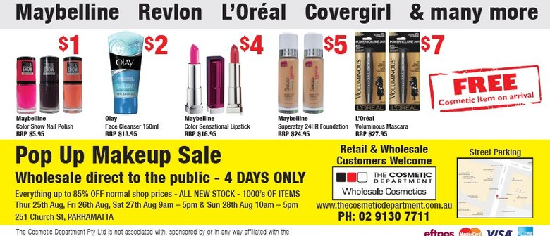 Pop Up Makeup Sale - Sydney - Eventfinda
