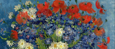 Bubbles and Brushes paints Van Gogh - Vase with Blue Flowers