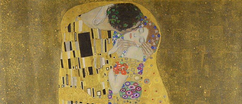 Bubbles and Brushes paints The Kiss (Klimt)