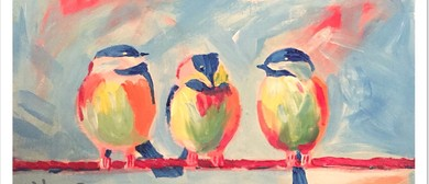 Birds On Wire – Beginner's Painting Class – BYO