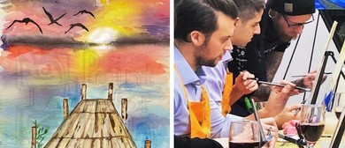 Watercolour Pier At Sunset – Dine In Painting Fun