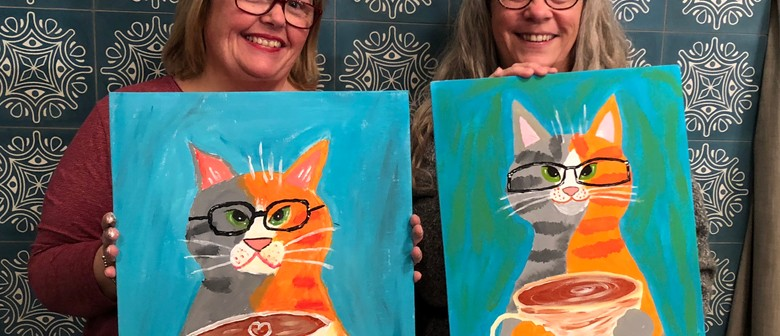 Coffee Cool Cat - Online Wine and Paint Class - Fun At Home