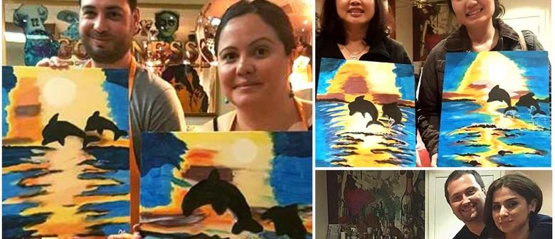 Paint Dolphins (Online Sip & Paint Class) - Live