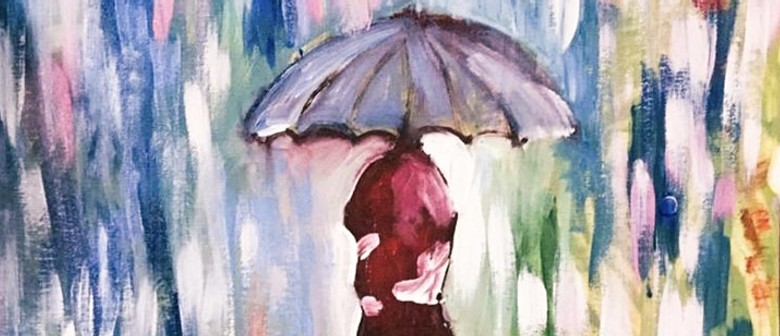 Paint Umbrellas In the Rain (Online Sip & Paint Class) Live