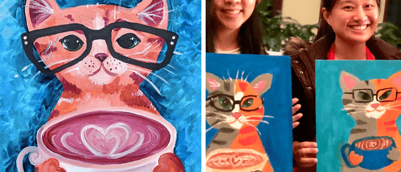 Coffee Cool Cat - Paint and Sip Class (Online via Zoom)