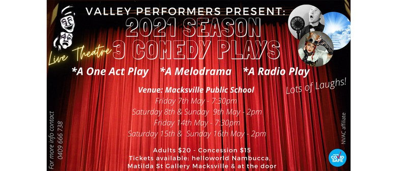 Valley Performers present 3 Comedy Plays